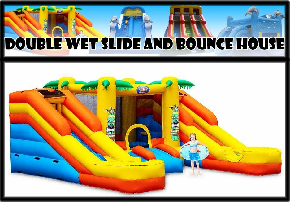 double wet slide and hounce house 1